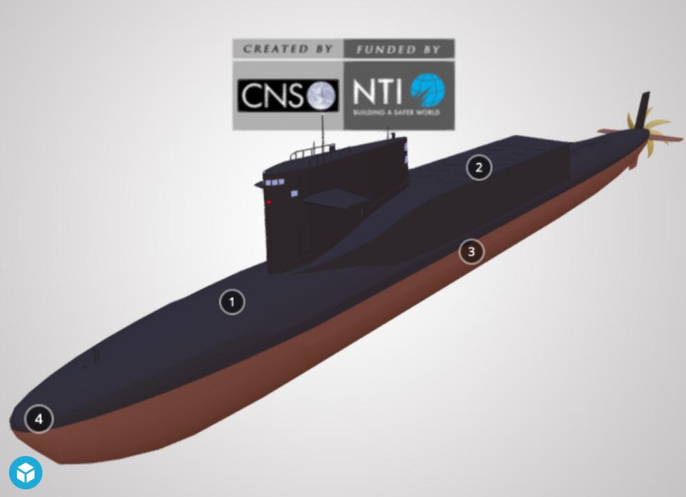 Screenshot of a 3D model of a China submarine (Xia Class SSBN)