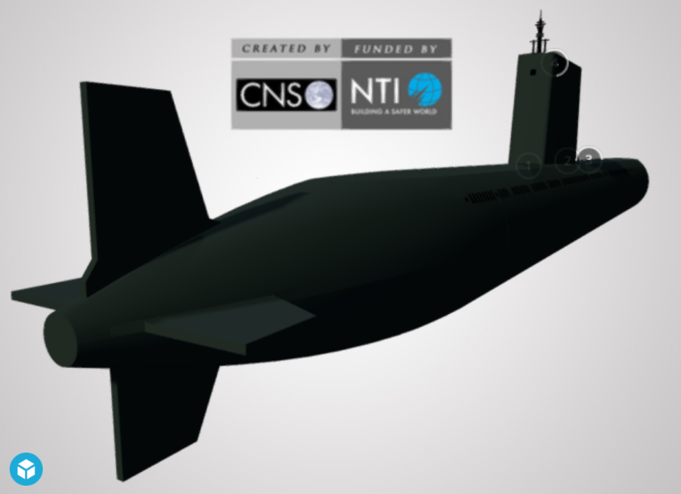 Screenshot of a 3D model of a North Korea submarine (Sinpo SSB)