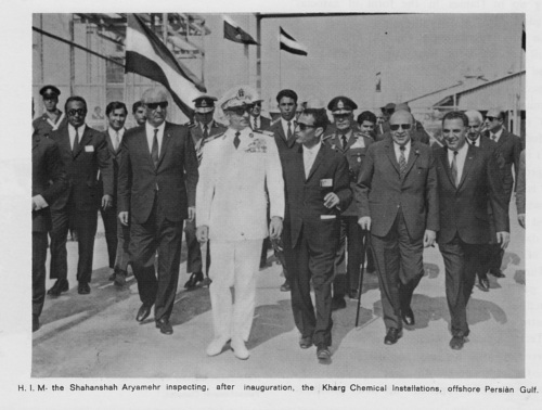 Shah of Iran, His Imperial Majesty Mohammad Reza Shah Pahlavi inaugurating the Kharg Chemical Installations, offshore Persian Golf, 1967. (src. Wikimedia Commons)