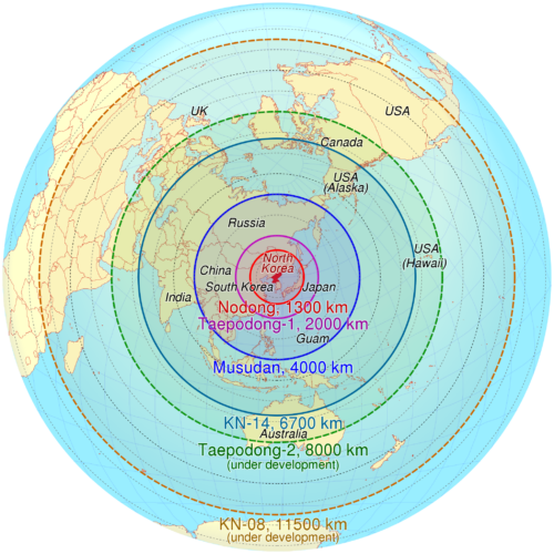 Azimuthal equidistant projection of estimated maximum range of some North Korean missiles (Src. TUBS, Wikimedia Commons)