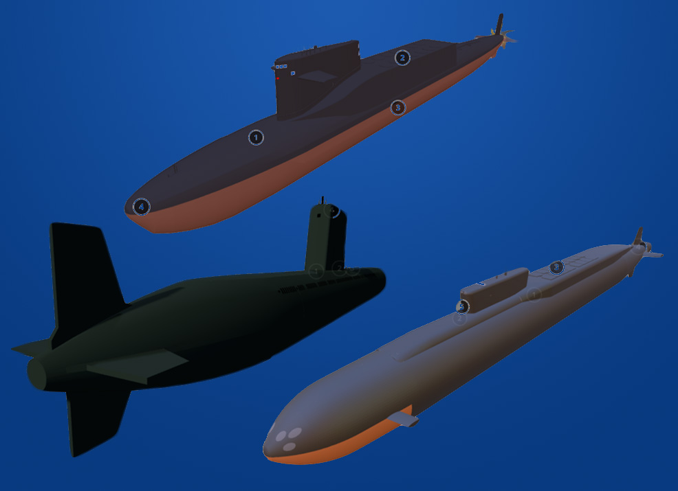 Screenshots from the 3D Submarine Model Collection
